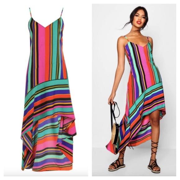 67db1f57a46d7 Boohoo Dresses | Asymmetric Bold Stripe Hi Low Dress Size 12 | Poshmark